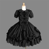 victorian partisi toptan satış-Ismarlama Batı Tarzı Siyah Lolita Gotik Punk Elbise Ortaçağ Victoria Elbise Kadın Kraliçe Cadılar Bayramı Cosplay Parti Kostümleri