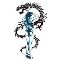 etiqueta sexy de dibujos animados al por mayor-Mayitr Cartoon Sexy Tattoo Girl And Dragon Motocicleta Sticker Decal Universal para Moto Decoración Autoadhesivas Pegatinas