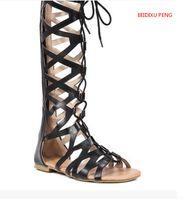 резиновые сапоги оптовых-BEIDIXU Пэн летние каникулы сексуальные девушки чистая кожа удобные сапоги сандалии высокий канистра плоский каблук открытый носок шнуровкой сандалии
