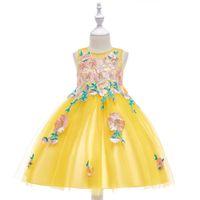 grand piano achat en gros de-Nouvelle robe de princesse big boy tube top flower robe blanche applique hôte costume de piano
