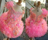 vestidos de flor de laranja venda por atacado-Rosa Laranja Vestido De Baile Da Criança Meninas Pageant Vestidos Fora Do Ombro Mini Curto Beading Lace Arcos Vestidos Da Menina de Flor