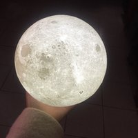 Wholesale magical balls - 8 cm D Print LED Magical Full Moon Night Light Touch Sensor Desk Moon Lamp USB Christmas Gift Color Changing Lunar Light