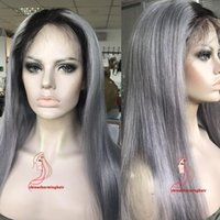 Wholesale lace front grey wig - Hair Straight Ombre Color Wig 1B Grey Full Lace Human Hair Wig with Dark Black Roots 100% Brazilian Remy Hair Wigs