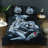 ingrosso skull bedding-2/3 pz 3d Ride Die Bedding Set Halley Moto Copripiumino Federa Rosa Rossa Beauty Kiss Skull Copripiumino Set