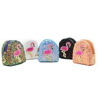 Wholesale bling style wallets resale online - 6 Colors Bling Sequins Flamingo Embroidery Coin Purse Wallet Key Chain Women Charm Make Up Bag Paillette Car Bag