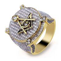 amerikanische freimaurerringe großhandel-Neue Hip-Hop-Herrenringe Europäische und Amerikanische antike Masonic Rings Mikro-Zirkon-Männer Hip-Hop-Männer Ringringe