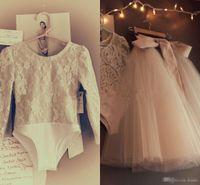 lange kleider für kleinkinder großhandel-Zwei Stücke Säuglingskleinkind Blumenmädchenkleider mit langen Ärmeln 2018 Spitze-Bodysuit-voller Ballettröckchen-Rock-kleine Mädchen-Geburtstags-Hochzeits-Kleid
