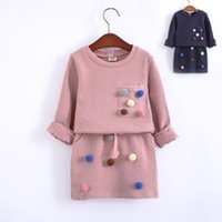 Wholesale Little Girls Outfits - 2018 New Little girls leisure outfits Spring children colorful pompons applique long sleeve pullover+double pocket skirt 2pcs sets R1927
