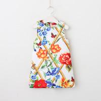 kız çocuk batı elbisesi toptan satış-Everweekend Sevimli Çocuk Kız Poker Gül Çiçekler Vintage Elbise Batı Moda Tatlı Kalp Baskı Elbise Çocuk Tatil Elbiseler