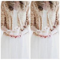 tela de piel sintética de calidad al por mayor-Bling Bling lentejuelas mangas largas Chaquetas nupciales de oro rosa 2018 Encogimiento formal de la boda de alta calidad Boleros Boda accesorios baratos