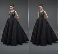Wholesale Lady Like Sexy Evening Dress - 2018 New Black Lady Prom Dress Vestidos De Festa Women Crew Neck Formal Party Gowns Satin Applique Evening Dresses