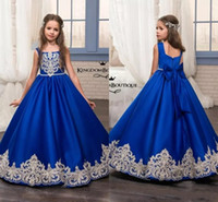 ingrosso piccoli fiori blu-Glitz Pageant Abiti Royal Blue Little For Girls Abiti 2018 Toddler Kids Piano Lunghezza Glitz Flower Girl Dress Per Matrimoni Appliques