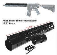 porcas de barril venda por atacado-13.5 polegada Free Float NSR KeyMod Handguard Suporte de Montagem com Trilho Destacável Barril PRETO Porca Para AR-15 M4 M16