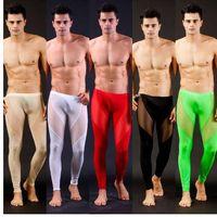 örgü çorap iç çamaşırı erkek toptan satış-Wangjiang Erkekler Mesh Şeffaf Mesh Seksi Paçalı Don Iç Çamaşırı Tayt Pantolon Tayt Rahat Uzun Külot erkekler pantolon sheer