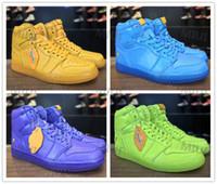 Wholesale Gold Lemon - Discount Retro 1s Gatorade Lemon Basketball Shoes Grape Blue Lagoon and Orange Sneaker AJ5997 With Box Size 7-13