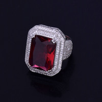 ingrosso gemme di zirconio-New Top Fashion Hip Hop Gift Red Gem Iced Out Anello da uomo in rame color oro argento Zircone cubico gioielli Hip Hop