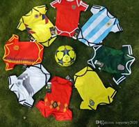 meninos de futebol da espanha venda por atacado-Copa do Mundo de 2018 Espanha camisas de futebol do bebê Colômbia México Rússia Camisa de futebol para crianças Argentina Suécia Bélgica jersey camisas de futebol