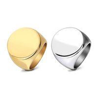 modische accessoiresstähle großhandel-Weinlese-Edelstahl-Ring für Männer Geometrischer runder glatter überzogener Goldsilberring-Ring-Art- und Weiseschmucksache-Zusätze Wholesale freies Verschiffen