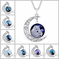 Wholesale luxury necklaces gemstone pendant - Wolf Totem Time Gemstone Chokers 4*3.5cm Hollow Moon Pendants Designer Women Men Necklaces Luxury Jewelry