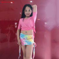 falda del vientre niños al por mayor-Belly Dance Costume Set para niños Danza del vientre Bollywood Girls Performance Clothing Tops Manga corta + SKIRT corto 2pcs
