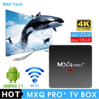 Wholesale plus google - 2018 Hot MXQ PRO PLUS 2GB 16GB Android 7.1 TV Box Quad Core KD 17.6 Loaed 4K IPTV Media Player VS X96 MINI TX3 MINI