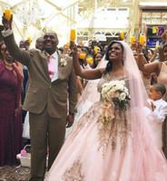 hermoso vestido de novia rosa al por mayor-2019 encaje vestido de bola vestidos de novia vestidos de novia Scoop encaje apliques piso longitud rosa romántico Sexy por encargo hermosa moda
