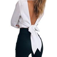 ingrosso maglietta sexy lunga della donna-2018 Tshirt donne nuovo stile di moda donna sexy scollo av vita sottile a maniche lunghe nodo backless vendita calda abbigliamento vestidos SJVD5052