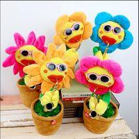 Wholesale style flower toy online - Sunflower Plush Music Toys Handmade Electric Enchanting Flowers Novel Style Saxophone Dance Funny Electronic music Toy song KKA5110