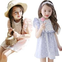 Wholesale baby clothing free shipping dhl resale online - Pretty Baby girl clothes summer colors girls dress pink wathet blue sleeveless hollow embroidered girls dresses DHL