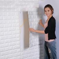 kinderzimmer ziegel tapete großhandel-10 STÜCKE 3D Wandaufkleber Wohnzimmer 3D Ziegelstein Tapete für Kinderzimmer selbstklebende Tapete AIJILE
