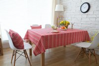 Wholesale print christmas table runner - Handmade Red Christmas Deer Cotton Linen Tablecloth New Home Kitchen Decor Dinner Table Top Cover Wedding Party Table Runner