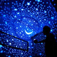 batería usb azul al por mayor-Lucky Fish Starry Sky Proyector LED Luz de Noche Control Remoto Rotativo LED Dormitorio Lámpara de Noche Luz de La Novedad para Niños Bebé