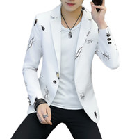 trajes jóvenes al por mayor-Trajes de manga larga para hombres jóvenes, chaquetas Slim EleMale Blazer tamaño S-3XL