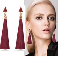 Wholesale threading earrings - Thread Long Tassel Earrings Rhinestone Drop Statement Fringe Earrings for Women Luxury triangle Earrings European Rhinestone Tassel Dangle