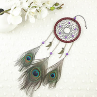 Wholesale art decor peacock - Peacock Feather Dreamcatcher Creative Wind Chime Pendant Wall Hanging Indian Style Dream Catcher Decor Gift 12 3xr C