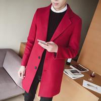 chaqueta masculina coreana al por mayor-Trench Coat de los hombres de 2018 Mens botón del diseñador largas chaquetas rompevientos modas abrigos Hombre de cinta coreana Invierno Abrigo