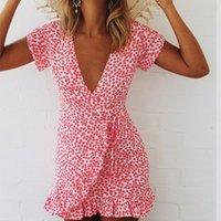 Wholesale kawaii mini dress - Female V-neck Short Sleeve Slim Boho Floral Printed Sundress Summer Kawaii Ruffles Mini Dress Lady Plus Size 2018 Women
