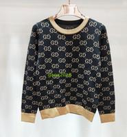 ingrosso camicette per ragazze-Cardigan lavorato a maglia manica lunga da donna di fascia alta con lana nera con stelle dorate jacquard maglione con scollo a V top in cotone pullover