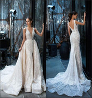 Wholesale new design skirt - Gorgeous Mermaid Wedding Dresses 2018 New Design V Neck with Detachable Train Split Front French Lace Vestido De Novia Summer Bridal Gowns