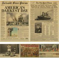 eski duvar kağıdı toptan satış-New York Times gazete afişi / Geçmiş Zaman / Kraft Eski Gazete Serisi kraft kahverengi duvar kağıdı bağbozumu posteri