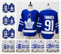 ingrosso foglia di acero bianco-Toronto Maple Leafs 34 Auston Matthews Jersey 91 John Tavares Hockey Mitchell Marner William Nylander Frederik Andersen Blue White Stadium
