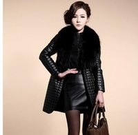 Wholesale Womens Jacket Size Large - Womens Large Size Casual Pu Leather Overcoats Long Section Fur Collar Leather Jackets Female Coats Jaqueta De Couro K492
