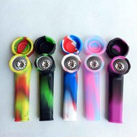 Wholesale Tobacco Smoking Pipes Wholesale - Creative Silicone Tobacco Smoking Cigarette Pipe Water Hookah Bong 5 Colors Portable Shisha Hand Spoon Pipes Tools With Metal Bowl