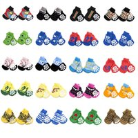 Wholesale Anti Slip Dog Socks Traction Control for Indoor Wear Dog Boots Shoes Socks Paw Protection set Colors for Choose