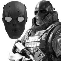 ingrosso caschi airsoft nero-Skull Mask Skeleton Airsoft Maschera a pieno facciale Protect Shot Caschi Black Mesh eye shield Full Cover CS Game Mask per adulti