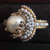 ingrosso fascini d'ottone natale-On Sale Vintage Brass Anello di lusso con perla naturale Decorare e anello di fascino Gioielli Giorno di Natale Ringraziamento San Valentino Gioiello