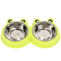 Wholesale automatic pet feeder resale online - thickening Stainless steel dog bowl multi funcation pet Supplies Water Food Storage portable cat Double rice feeders cb WW