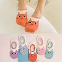 lindas zapatillas de gato al por mayor-Cute Cat Boat Socks Mujeres Summer Anlimal Funny Sock Girls Dibujos animados Low Cut Sweet Invisible Candy Slippers Calcetines