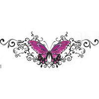 on the body art ladys Waist Belly sternum beautifull sexy Chest Flowers red Rose Butterfly pattern women waterproof fake tattoo stickers
