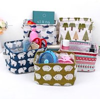 Wholesale cotton storage basket - Fresh Cotton Carry hand storage box desktop Sundries basket Storage box Cupboard Small clothes Cloth collection basket T4H0371